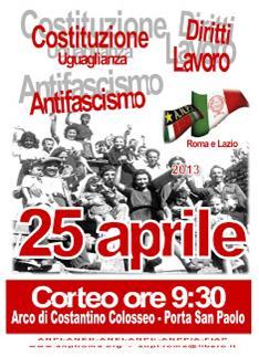 ROMA – Il 25 aprile tutti in piazza per l'Antifascismo e la Costituzione