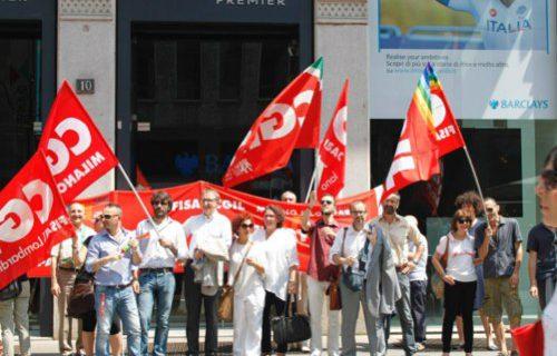 Barclays: lavoratori in piazza contro i tagli annunciati
