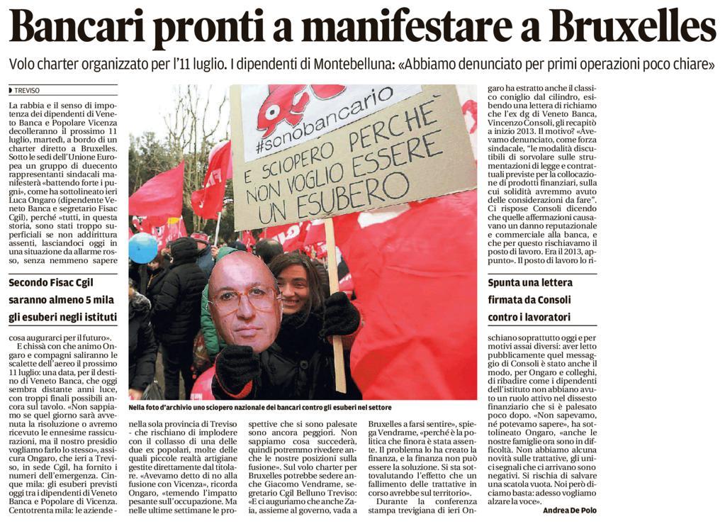Bancari pronti a manifestare a Bruxelles