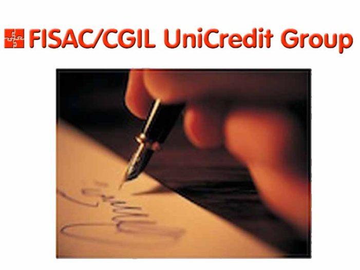 Unicredit: sottoscritto verbale di accordo integrativo