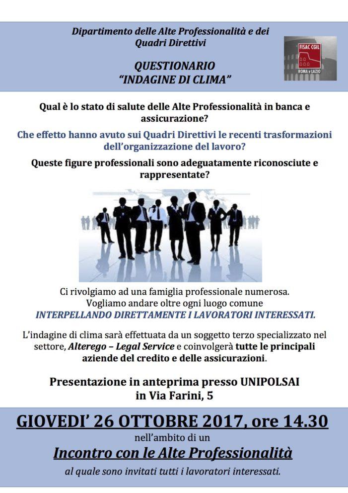 Lazio – Incontro Alte Professionalità – Indagine di clima