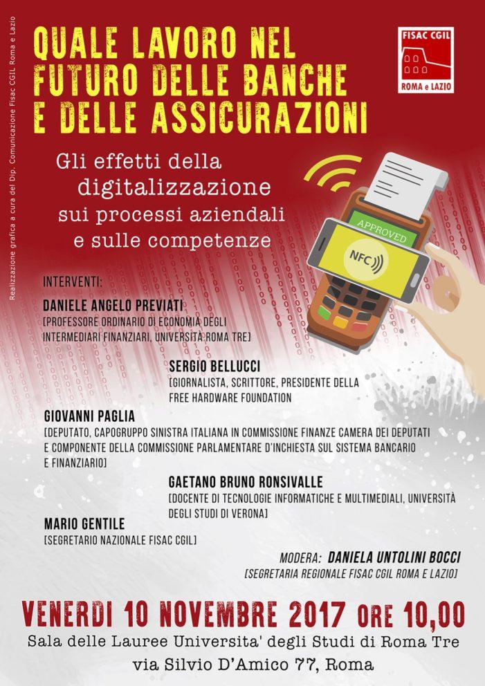 """Lazio – Convegno : """"Quale lavoro nel futuro delle banche e delle assicurazioni?"""