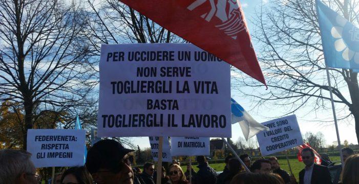 BCC Veneto, contro i licenziamenti la carica dei 700!