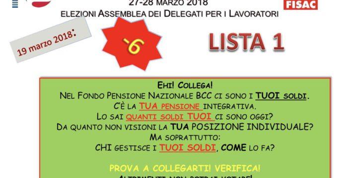 Fondo Pensioni BCC: elezione dei delegati per i lavoratori – 6 ragioni per votare la lista 1