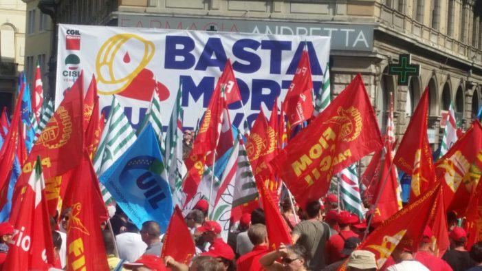 Veneto: Basta morti sul lavoro – CGIL CISL e UIL in piazza a Padova