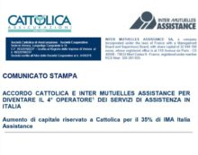 Cattolica: accordo con Inter Mutuelles Assistance