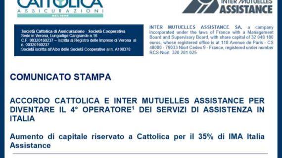 Cattolica: accordo con Inter Mutuelles Assistance
