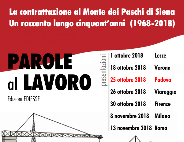 VENETO: Parole al Lavoro, presentazione del libro nell'ambito del IX Congresso Fisac-CGIL Veneto