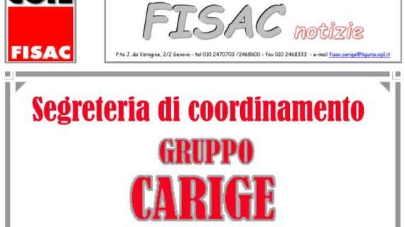 Gruppo Carige: informativa della segreteria di coordinamento Fisac agli iscritti