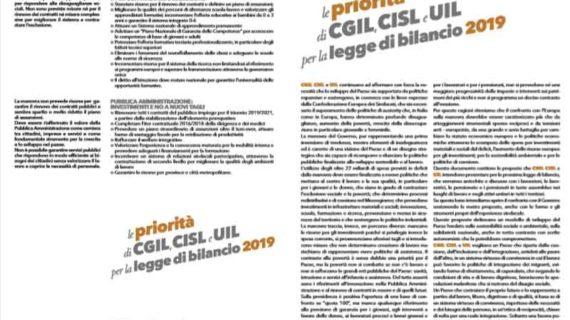 le priorità di CGIL, CISL e UIL per la legge di bilancio 2019
