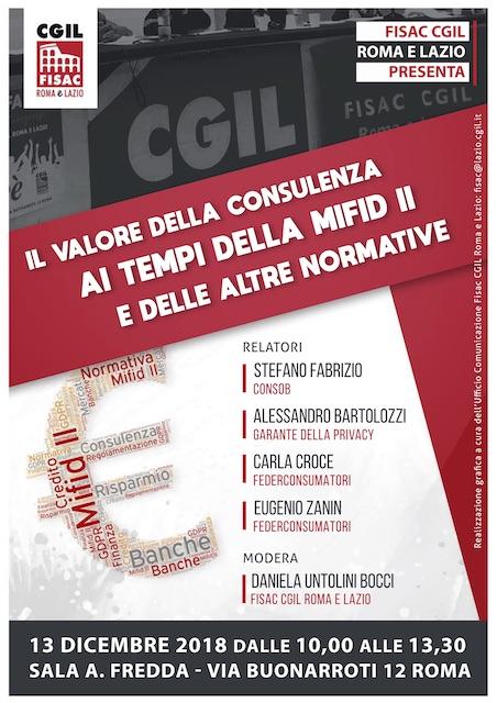 Lazio – Seminario – Il valore della consulenza ai tempi della Mifid2 e delle altre normative