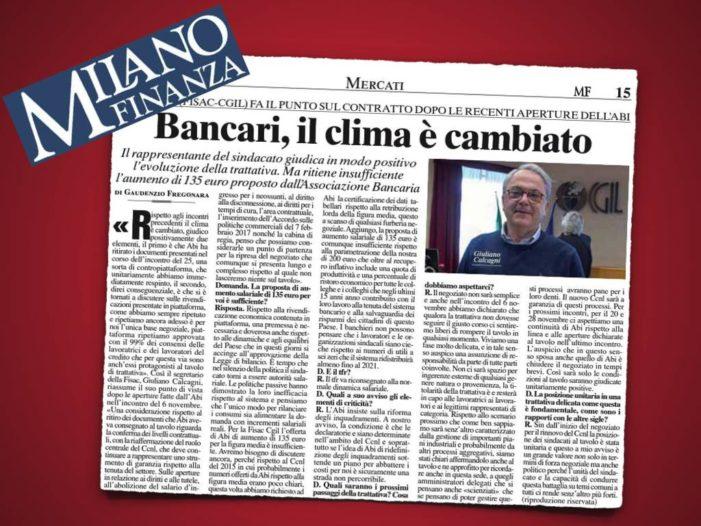 CCNL ABI: intervista la Segretario Generale della Fisac Cgil Giuliano Calcagni