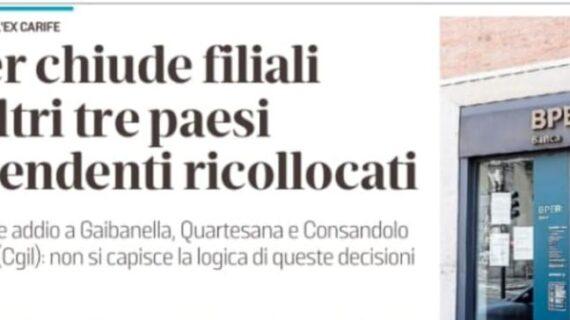 BPER: CGIL Ferrara – BPER chiude filiali, non si capisce la logica