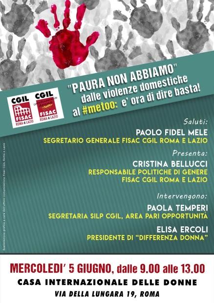 """Lazio – Convegno presso la Casa Internazionale delle Donne """"paura non abbiamo"""""""