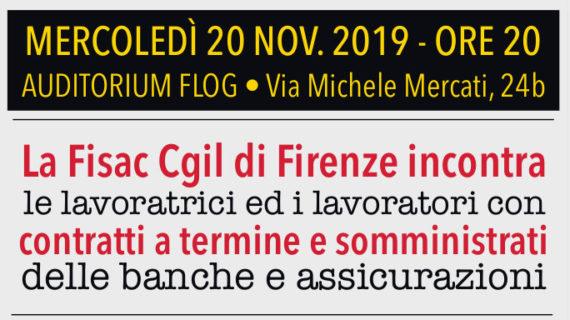 Fisac Firenze incontra i lavoratori con contratti a termine e somministrati