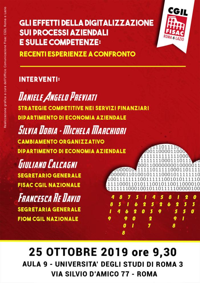 Lazio – Iniziativa Fisac Cgil Roma e Lazio sugli effetti della digitalizzazione