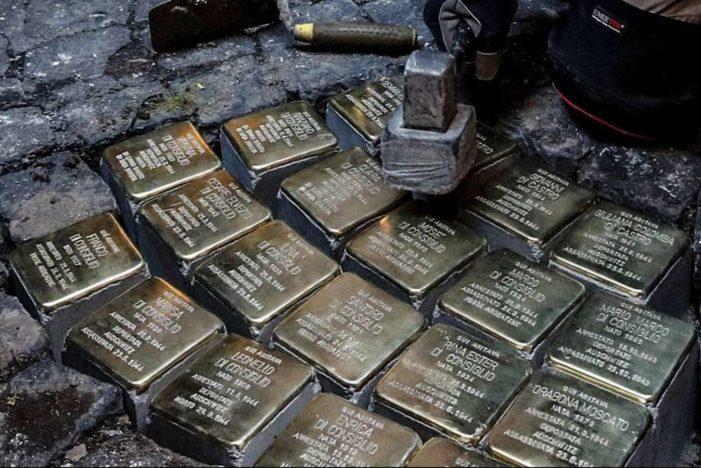 Ricollocate le pietre d'inciampo a Roma: erano state trafugate lo scorso dicembre