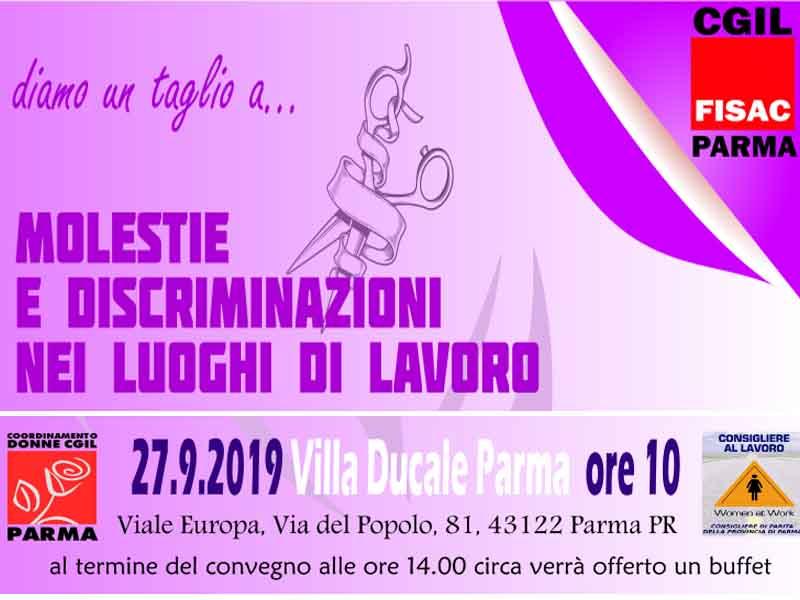 Fisac Parma: iniziativa molestie e discriminazioni sul luogo di lavoro